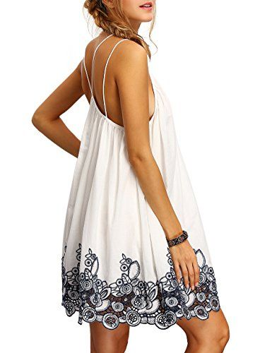 ROMWE Women's Summer Sundress Printed Casual Mini Beach Floral Tunic Dress