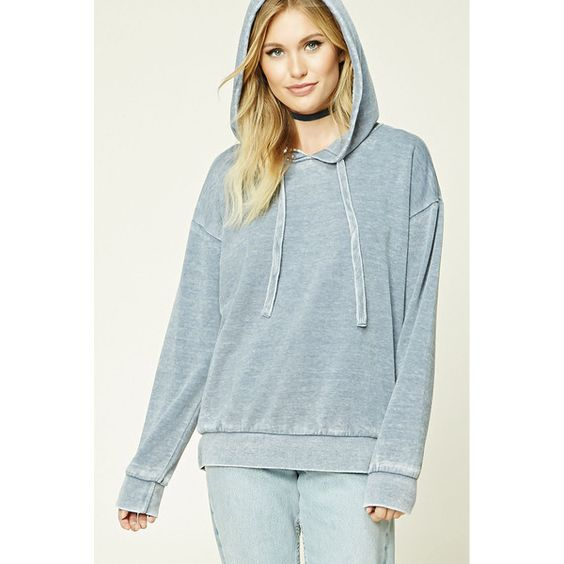 Forever21 Contemporary Distressed Hoodie ($18) ❤ liked on Polyvore featuring tops, hoodies, dusty blue, long sleeve hoodie, distressed top, ripped tops, hooded sweatshirt and blue hoodies