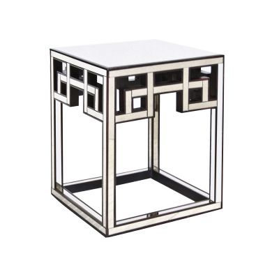 Fretwork Antique Mirror Side Table Worlds Away