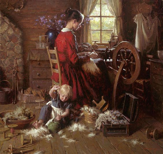 A Helping Hand - Pioneer woman spinning by artist Morgan Weistling: