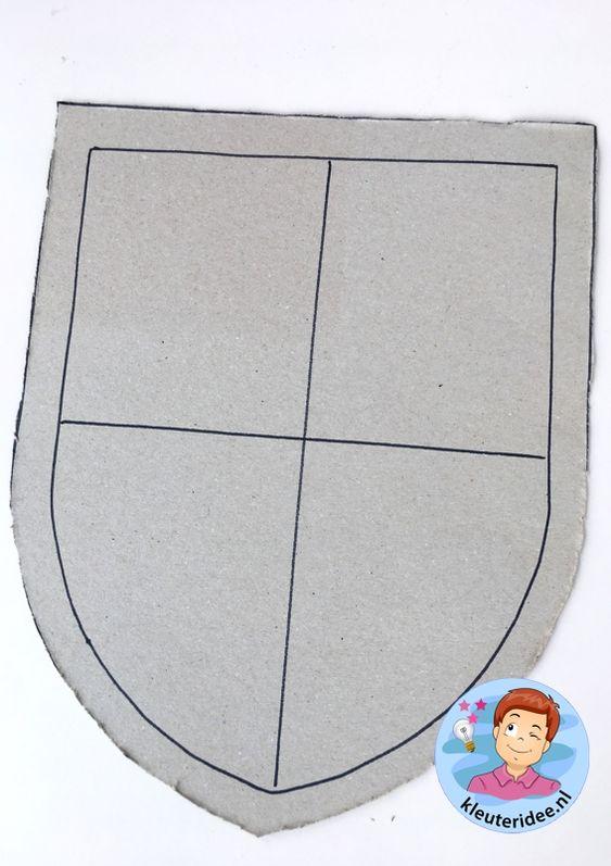schild voor ridder knutselen, thema ridders, kleuteridee, shield craft knights theme kindergarten 1