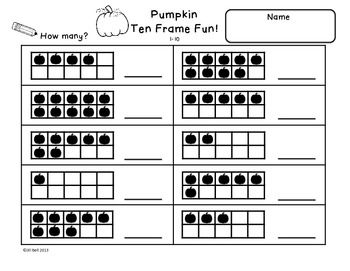 Printables Ten Frame Worksheets ten frames pumpkins halloween and fall this is a set of 6 frame worksheets students will practice identifying showing