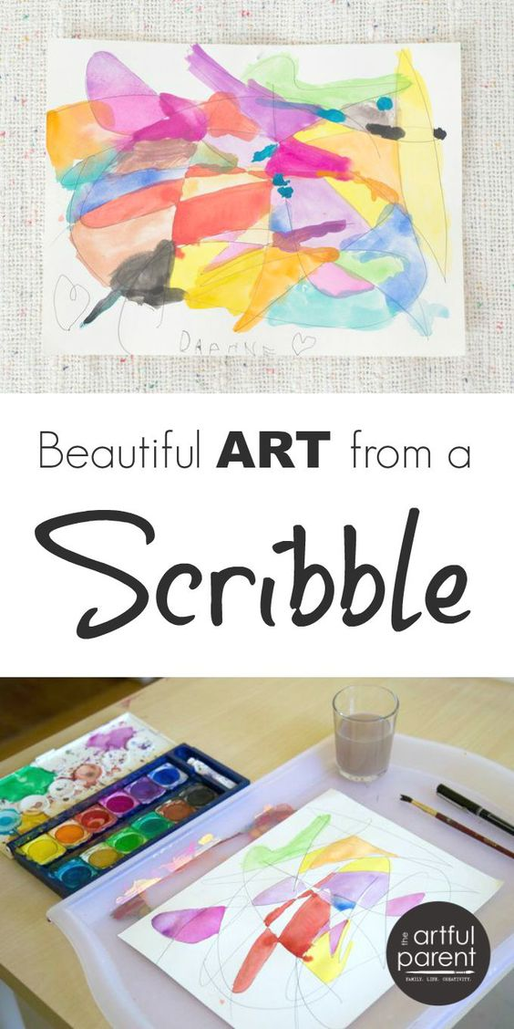 Scribble Drawing The Project : Scribble drawings with watercolors art for kids