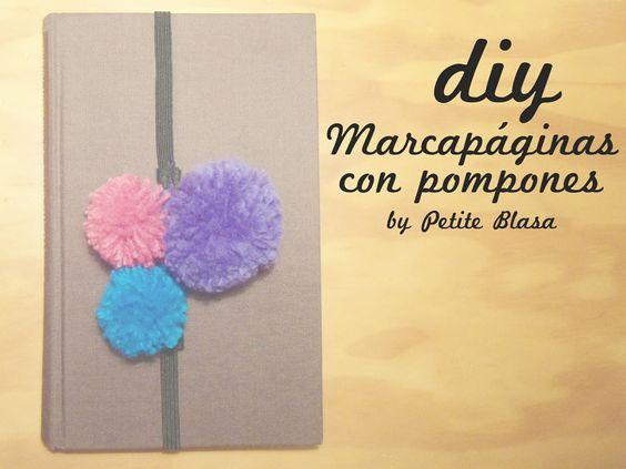 DIY: Marcapáginas con pompones (Pom pom bookmarks), by Petite Blasa.