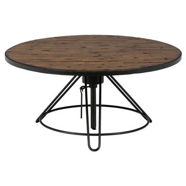 Distressed Wood Cocktail Table The Round Table Has An Adjustable Height Distressed Solid Pine