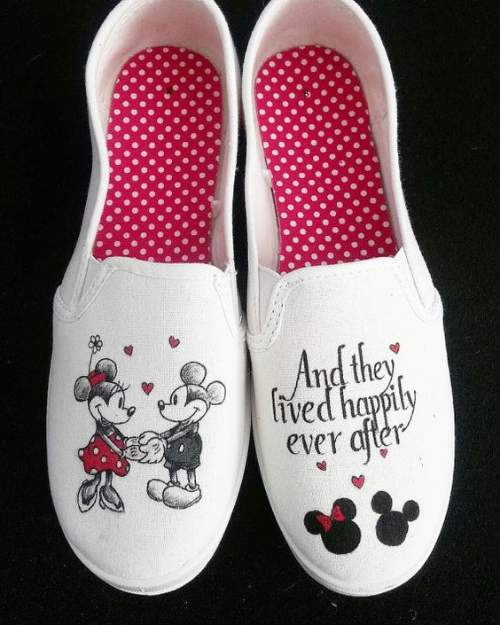 Disney Mickey and Minnie Love wedding shoes by Brinkadoodle