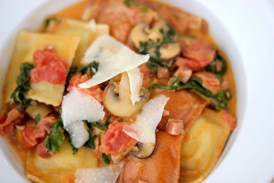 Jazzing Up Frozen Ravioli | Ravioli with pancetta, tomatoes, mushrooms, spinach & cream | Frozen Ravioli