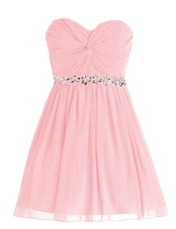 Amazon.com: Dressystar Short Chiffon Bridesmaid Dresses Strapless Girls Prom Gowns: Clothing