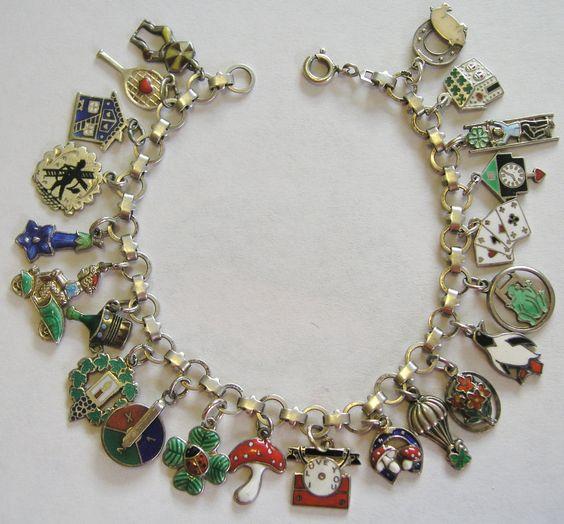 "RARE Vintage Antique German Silver Enamel Lucky Charm Bracelet 22 Charms 7 25"""