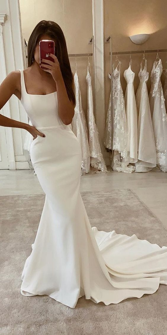 Elegant Mermaid Scoop Neck Open Back Soft Satin Wedding Dresses With Train Wd1916001 In 2020 Wedding Dresses Lace Wedding Dresses Satin Wedding Dresses