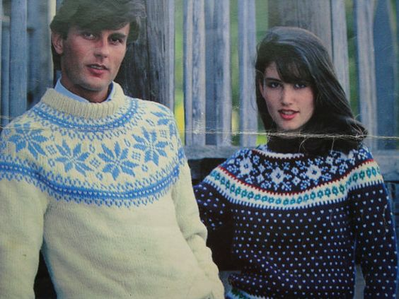 Knitted Fair Isle Pullovers Patterns for Men and Women by Leisure Arts, Sizes: 30. 32, 34, 36, 38, 40, 42, 44, 46""