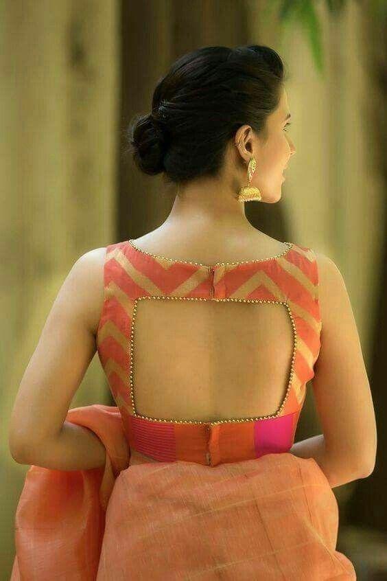 Golden & Peach Silk Saree Blouse Designs Back Neck