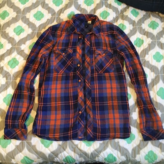 Orange And Blue Button Down Shirt