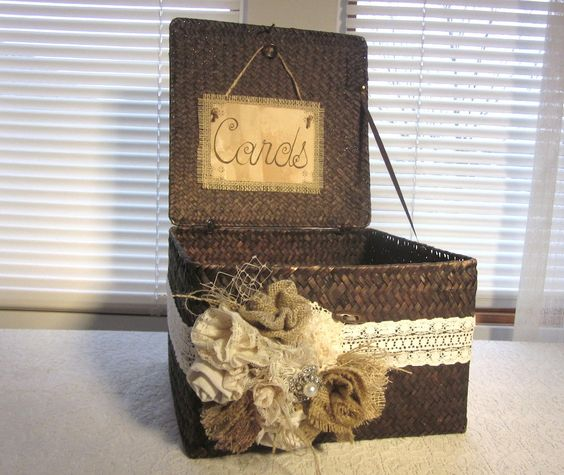 Ideas For Wedding Card Holder: Burlap And Lace Wedding Card Holder