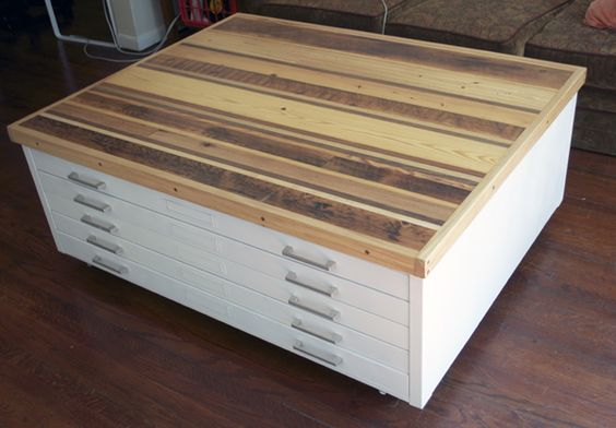 This Is Exactly What I Want To Do With My Flat File Paint It White Add A Wood Top And Casters
