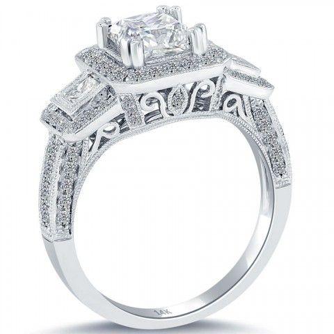 2.45 Carat D-SI1 Certified Princess Cut Diamond Engagement Ring 14k Pave Halo - Three Stone Engagement Rings - Engagement - Lioridiamonds.com