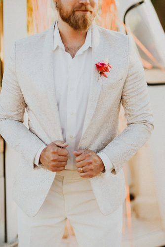 Mens Wedding Attire For Beach Celebration ★  mens wedding attire light jacket with boutonnieres meaghan brianne