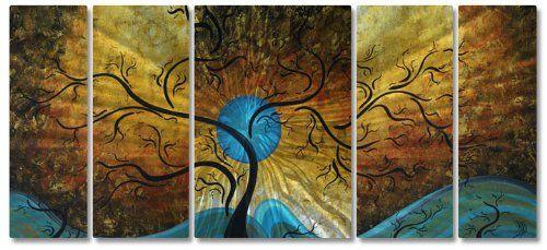 58x24 Megan Duncanson Blue Moon Contemporary Home Decor, Metal Wall Art
