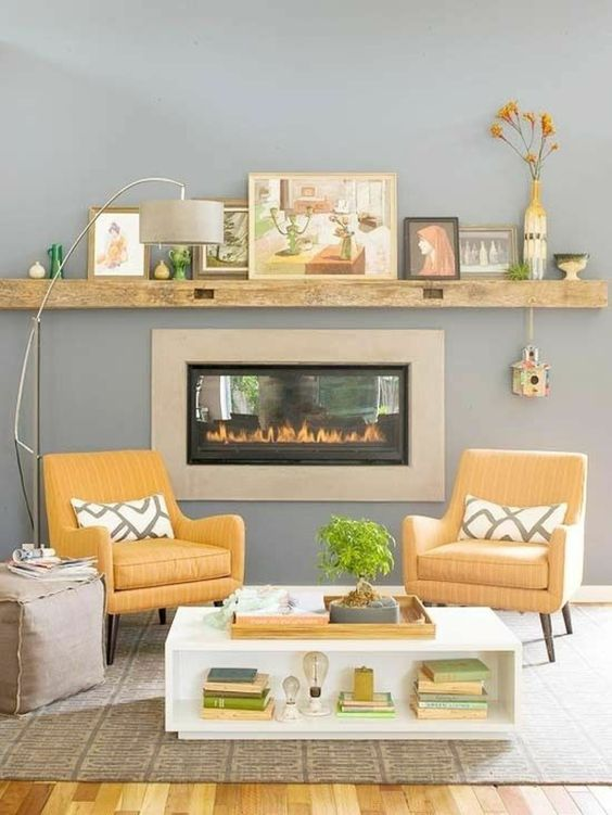 wohnzimmer inneneinrichtung ideen kamin gelb graue farben | haus ... - Wohnzimmer Inneneinrichtung