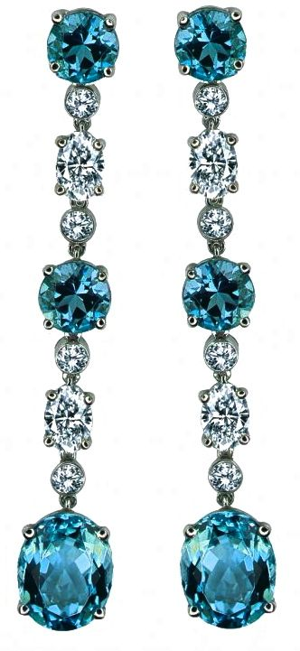 Aquamarine & Diamond Earrings by Gumuchian: