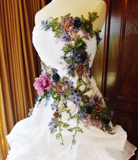 MADE TO ORDER Victorian Wedding Dress Train White Multicolor Lace Roses Embroidered Appliques Size 6-10 by Arabescque on Etsy https://www.etsy.com/listing/125493931/made-to-order-victorian-wedding-dress