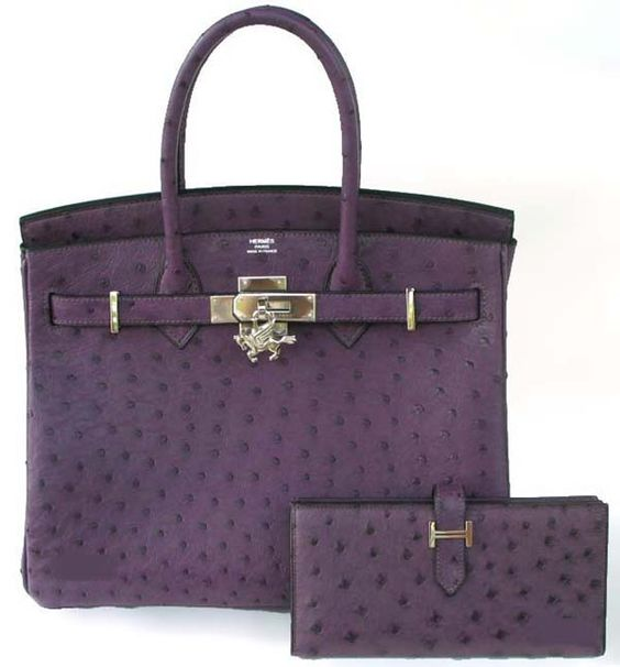 Hermes Birkin in purple ostrich - I can only dream for I don't have the $9000 to have it.  Mrs. Beckham has several of these in every color.  :/