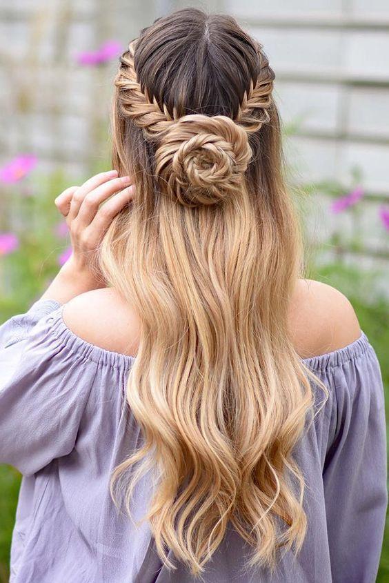wedding hairstyles half up half down with curls and braid and bun on long hair braidsbyjordan via instagram