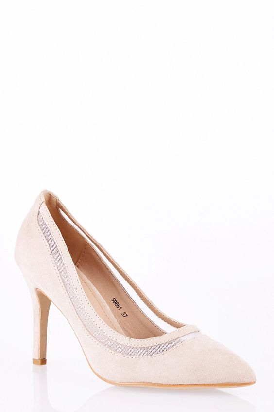 Faux Suede Court Shoe with Net Detail