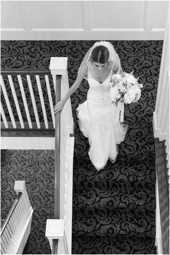 Bride in Stairway, Majestic Inn and Spa wedding, wedding dress, Maggie Sottero, B&W Wedding photos, Skagit Valley wedding, Skagit wedding photographer, Seattle wedding photographers, Mistry & Scott, Mistry and Scott Photography