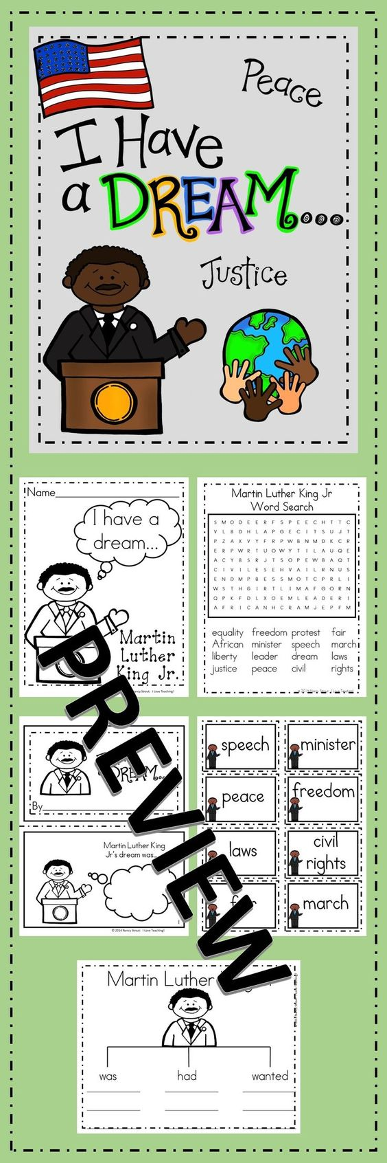 Martin Luther King Jr Printables Pages include: Martin Luther King Jr Booklet MLK Object Lesson with Printable Worksheet MLK Tree Map Vocabulary Words Vocabulary Anchor Chart Word Search with Answer Key 2 Color Sheets Martin's Dream writing activity MLK quotes: