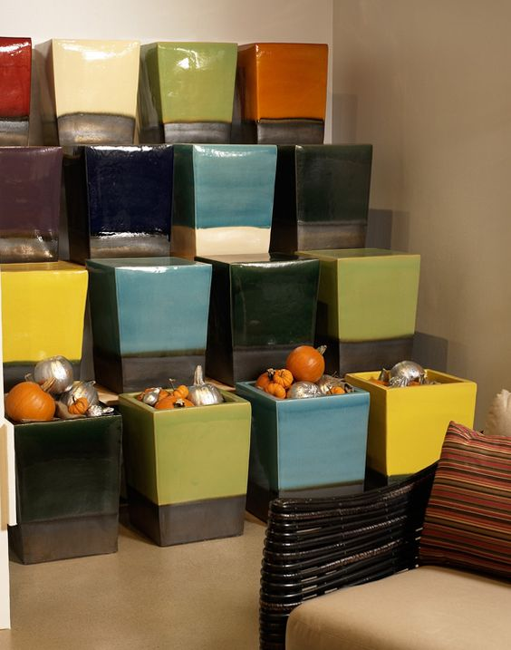"""Seasonal Living's """"Famous"""" Ceramic accent cubes - great seating, accent tables, coffee tables"""