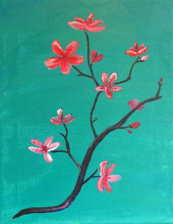 "9"" x 12"" original acrylic painting ""Blossoms"" $25"