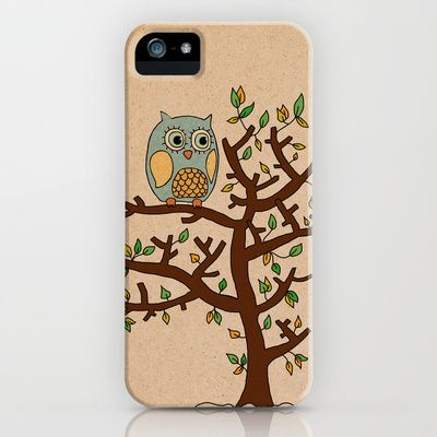 Owl on a tree iPhone Case by Lou Gee - $35.00