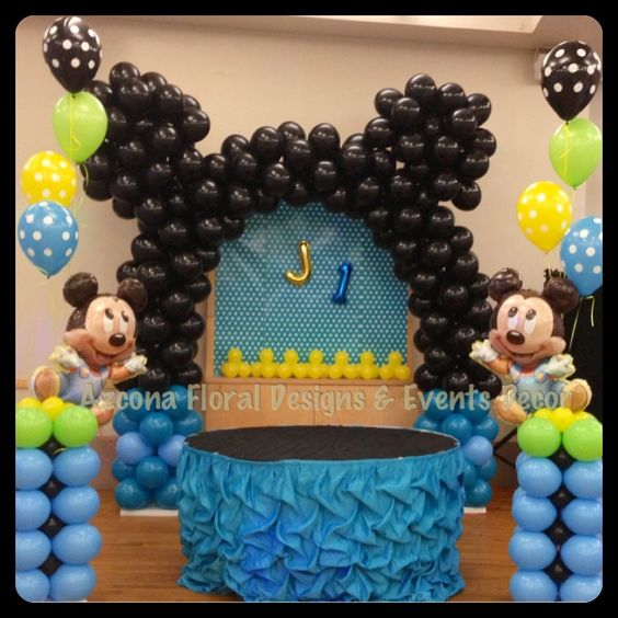Baby mickey 1st birthday balloons decor balloons for Baby mickey decoration ideas