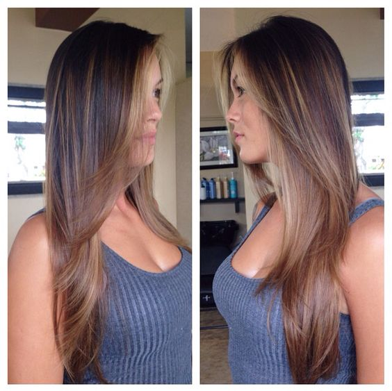 Soft natural balayage on brown hair. Creating caramel and beige sun kissed highlights