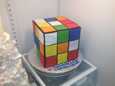 Rubix Cube Cake- (homemade fondant recipe on blog)