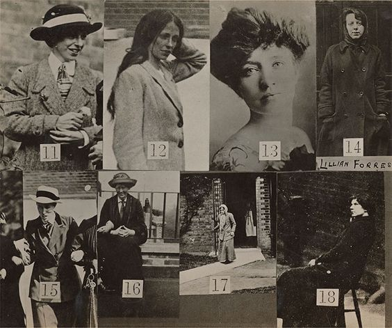Surveillance photograph set issued by the police to public galleries, identifying dangerous militant suffragettes, including Kitty Marion (13), 1914. National Portrait Gallery, London