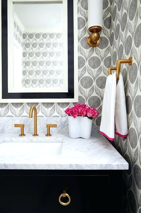 Designer Wallpaper For Small Bathrooms Best Black And White Ideas On Geometric Bathroom Gold Powder Room Design Powder Room Small Powder Room Decor