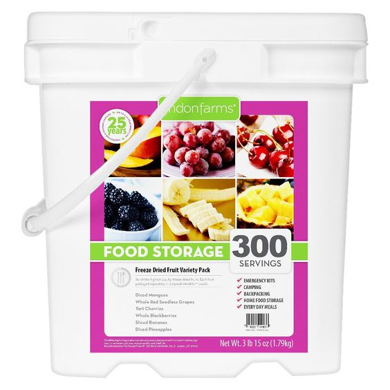 Lindon Farms Emergency Food 300-Serving Freeze Dried Tropical Fruit Variety Food Storage Pail