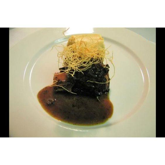 ... Bison: Balsamic & porcini braised bison shortribs w/ rutabaga strudel