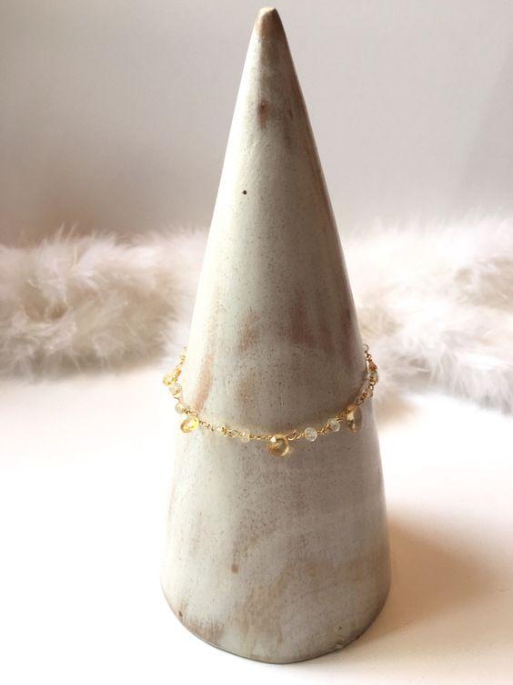 Bracelet gourmette en pierre de citrine et métal doré idéal mariage