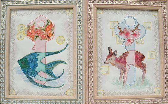 Anacronismos.   First:  Anacronismos (Key Sea)  - Watercolors and Lace. 20x24 cm.  Second:   Anacronismos (Key Forest)  - Watercolors and Lace. 20x24 cm.