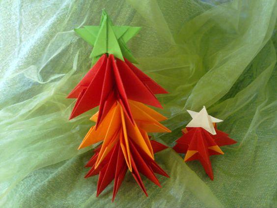 handmade christmas tree redorange paper 3d origami by fifirixtra, $8.00