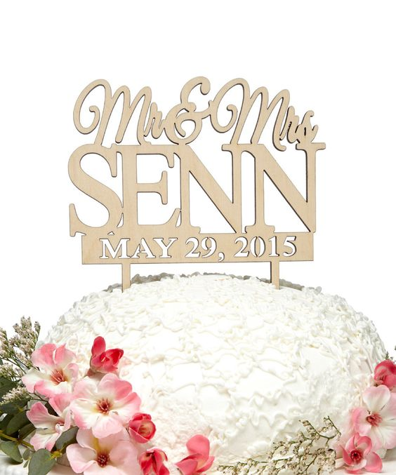 'Mr & Mrs' Names & Date Wooden Personalized Cake Topper by aMonogram Unlimited #zulily #zulilyfinds