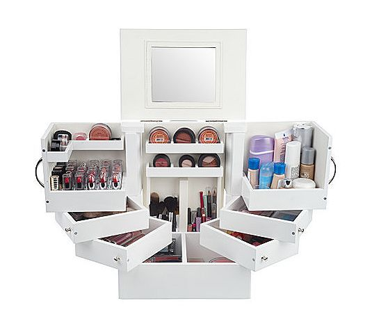 luxury deluxe wood cosmetic box w mirror by lori greiner. Black Bedroom Furniture Sets. Home Design Ideas