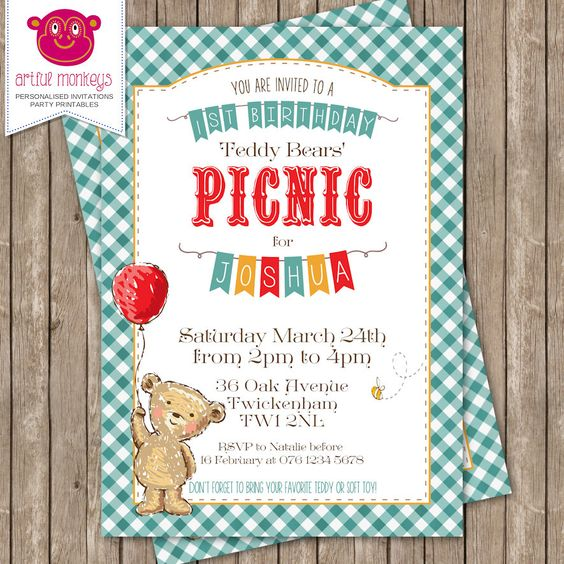 5 X Personalised TEDDY BEARS PICNIC Park Wood Birthday Party Invitation Invites