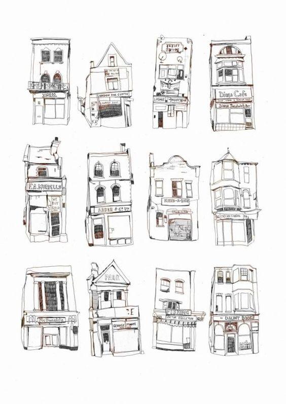 12 London Shopfronts  Large Print by melodyseal on Etsy, £25.00