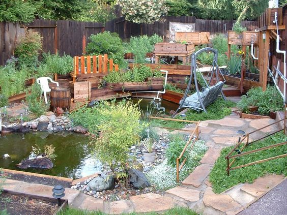 Create beautiful natural swimming ponds at home best for Garden pool aquaponics