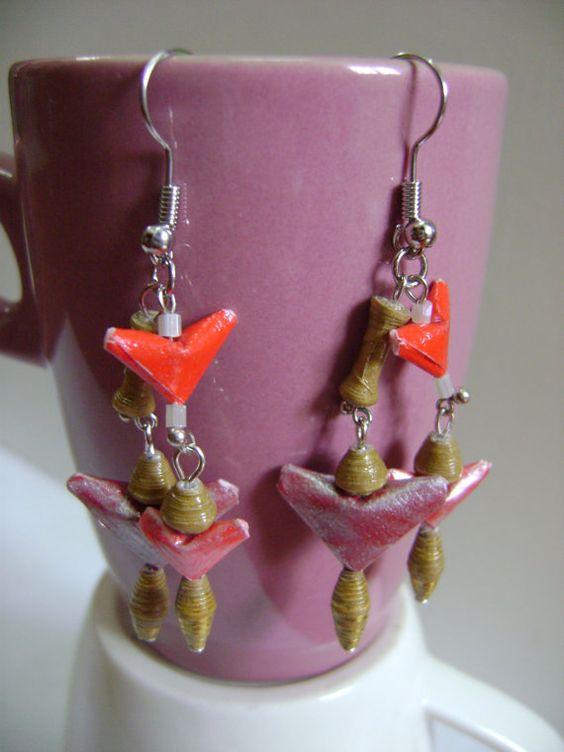 #Paper Bead Earrings Dangling Little #Angel by NightLightCrafts, $10.00 #handmade #jewelry