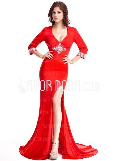 Abendkleider - $177.99 - Etui-Linie V-Ausschnitt Hof-Schleppe Jersey Abendkleid mit Perlstickerei (017022803) http://amormoda.de/Etui-linie-V-ausschnitt-Hof-schleppe-Jersey-Abendkleid-Mit-Perlstickerei-017022803-g22803